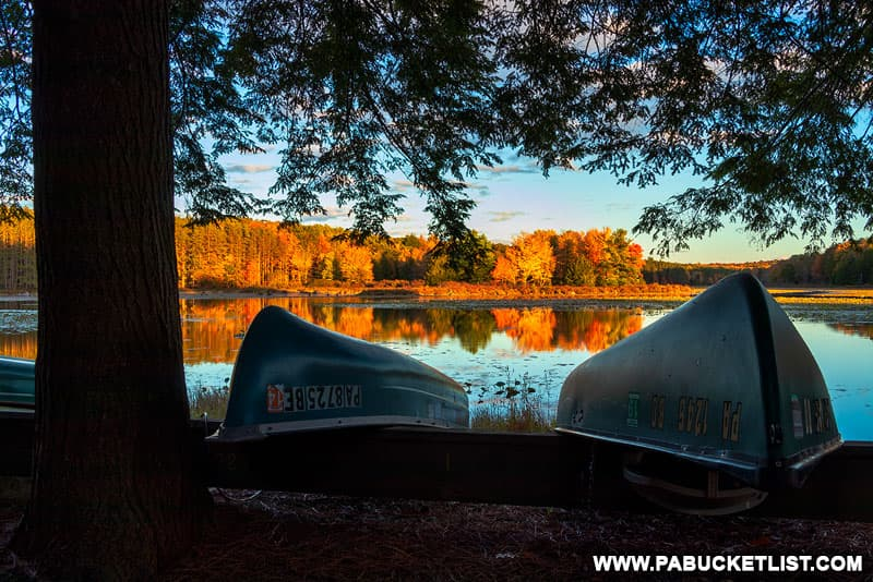 Fall foliage along the banks of Black Moshannon Lake.