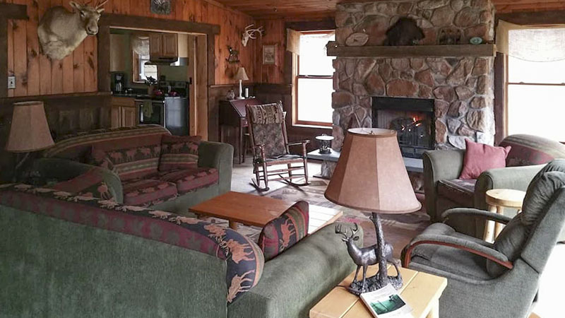 Interior view of a vacation rental cabin near the Pine Creek Rail Trail in the PA Grand Canyon.