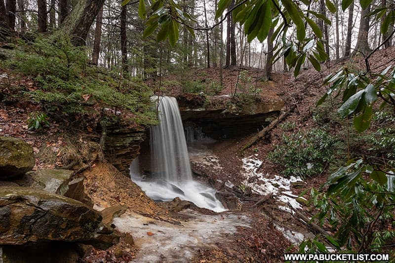 Side view of Adams Falls at Linn Run State Park in the Laurel Highlands.