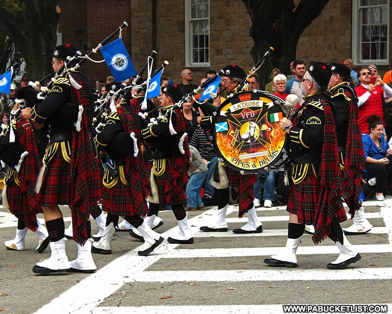 The Latrobe Fire Department Pipes and Drums Corp at the Fort Ligonier Days parade.