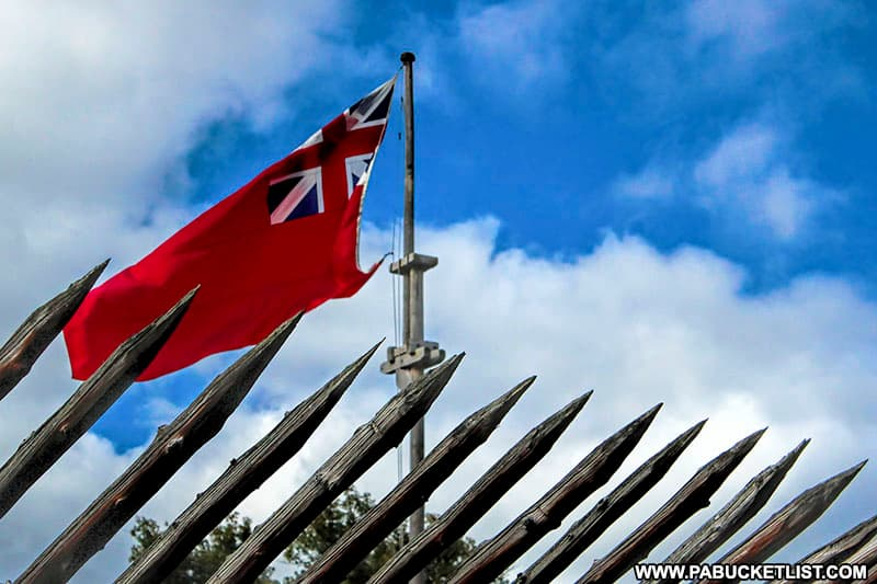 The British flag flying over Fort Ligonier.