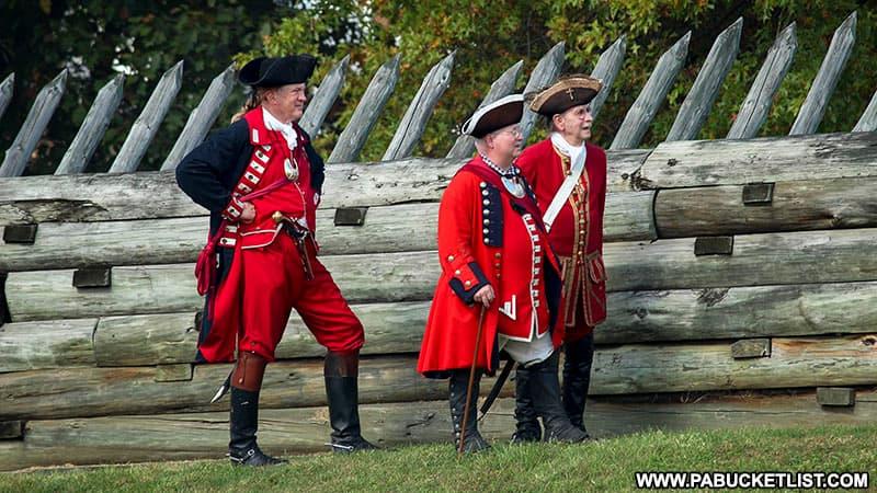 British officer reenactors at Fort Ligonier Days.