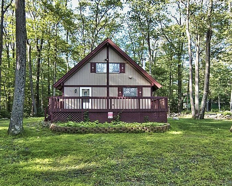 A rental cabin in the woods in the Poconos.