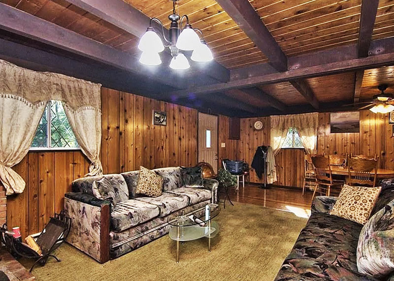 Interior of a rental cabin in the woods in the Poconos.