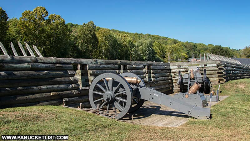 Artillery overlooking the Lincoln Highway below Fort Ligonier.