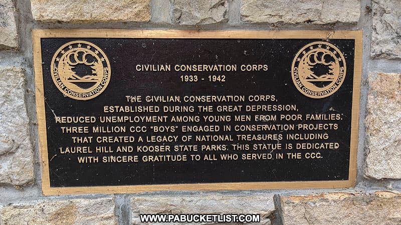 Civilian Conservation Corps plaque at Laurel Hill State Park.