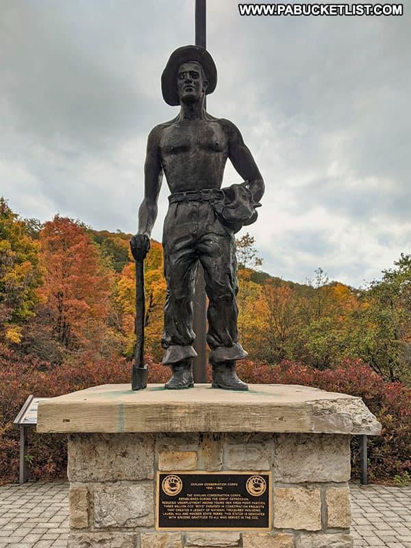 Civilian Conservation Corps monument at Laurel Hill State Park.