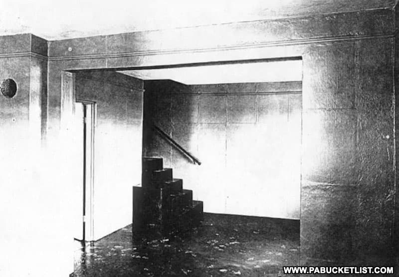 Stairs leading to the second floor bedrooms in a Concrete City duplex (public domain image).