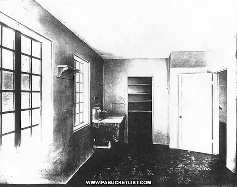 Kitchen of a home in Concrete City (public domain image).