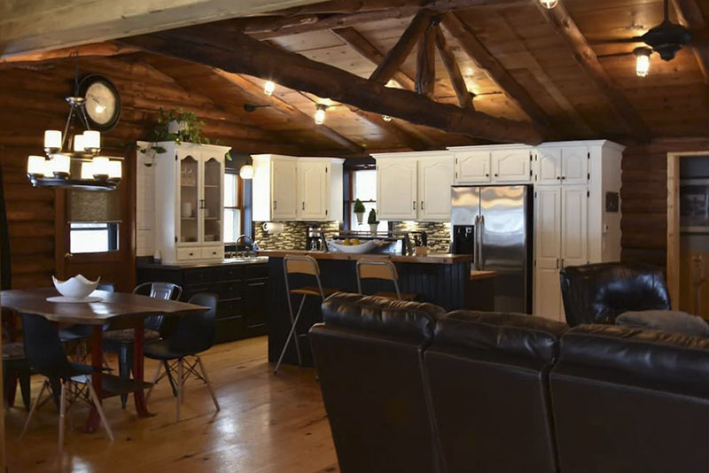 Interior of contemporary cabin vacation rental in the PA Grand Canyon
