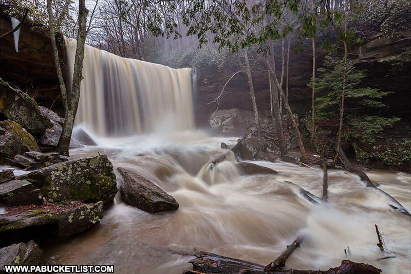 Cucumber Falls during heavy rain.