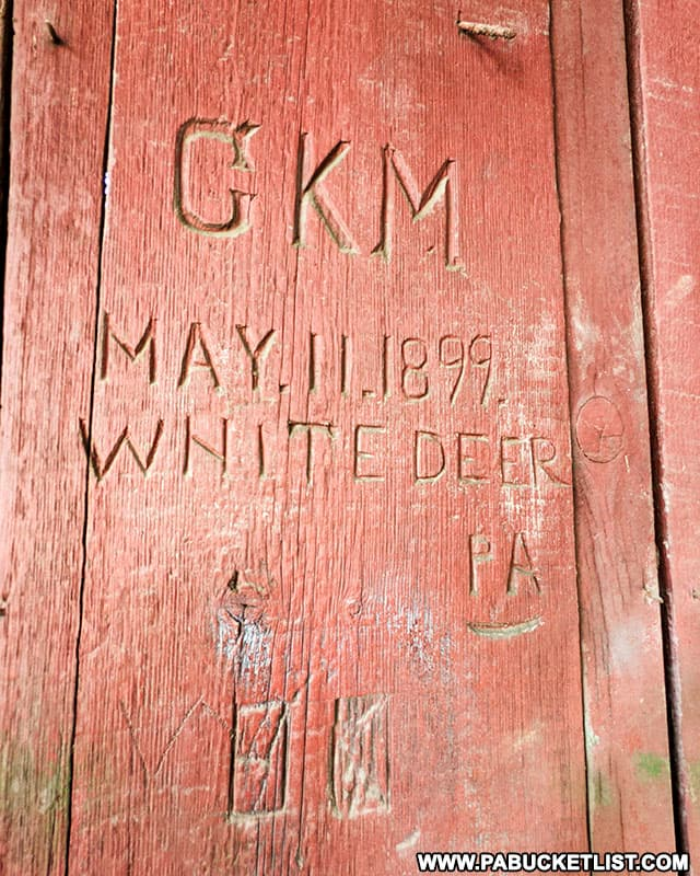 Carving from 1899 inside Factory Covered Bridge in Union County PA