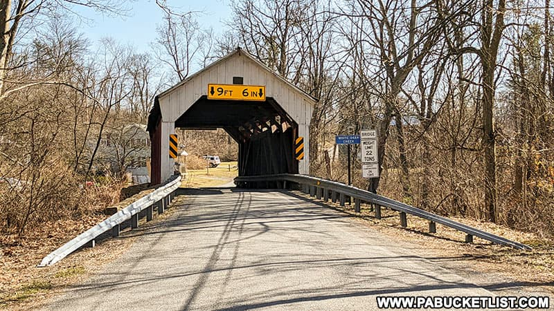 The north end of Factory Covered Bridge in Union County Pennsylvania.