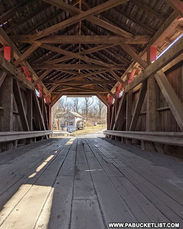 Trusses inside Factory Covered bridge in Union County PA