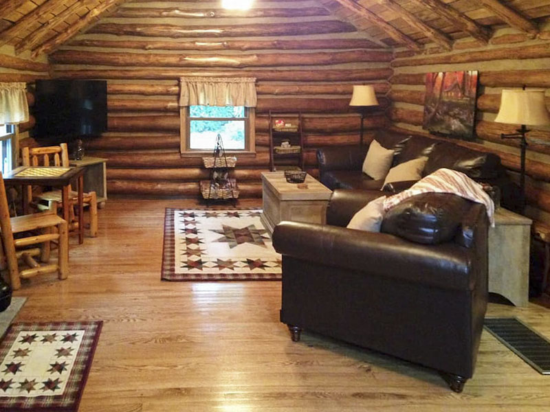 Living room in a vacation rental cabin in the Laurel Highlands of PA.