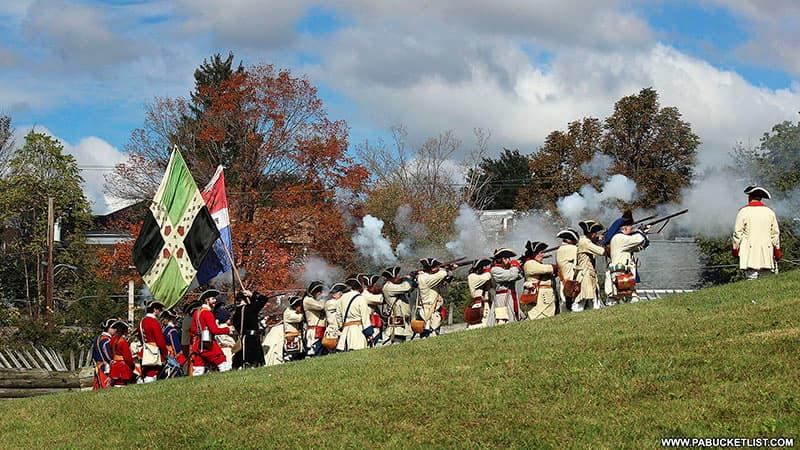 A battle reenactment during Fort Ligonier Days.
