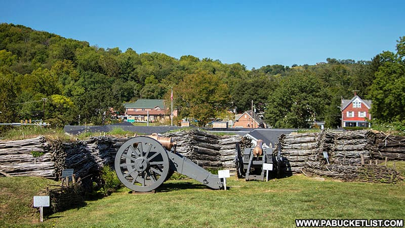 Cannons at Fort Ligonier overlooking the town and Route 30 below.