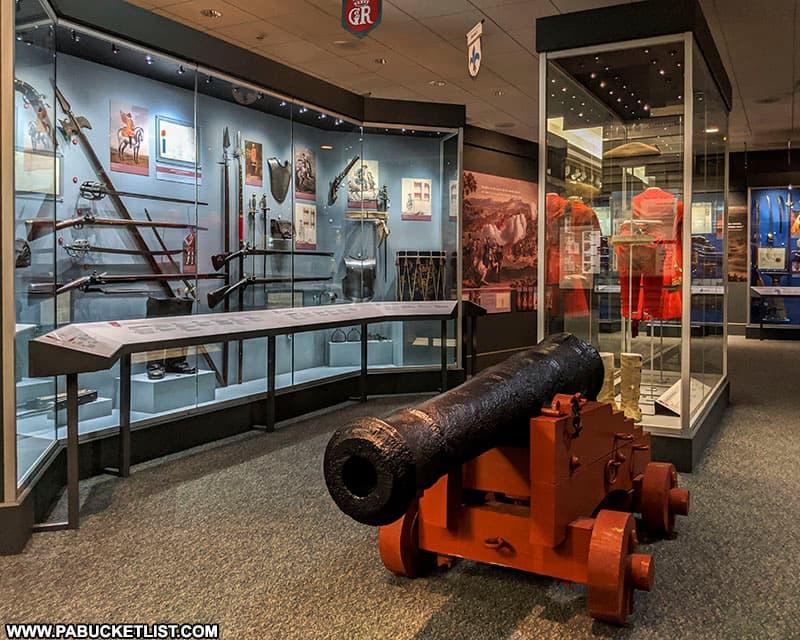 Weaponry on display inside Fort Ligonier museum.