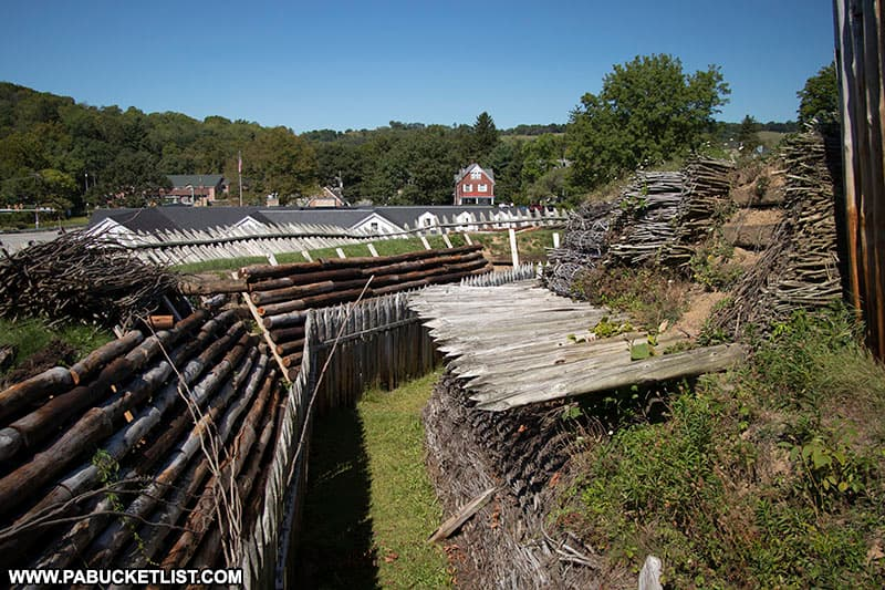 Trench between the outer and inner defenses at Fort Ligonier.