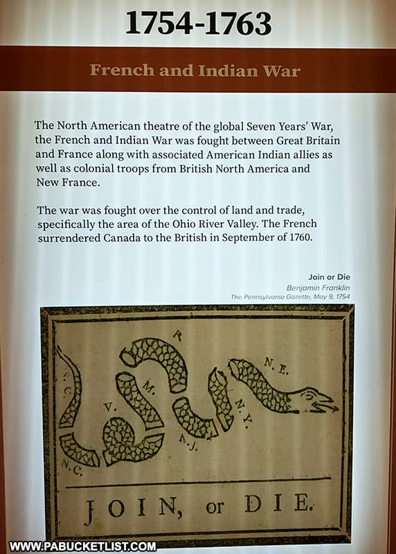 The reasons for the French and Indian War summarized in this exhibit at the Fort Ligonier museum.