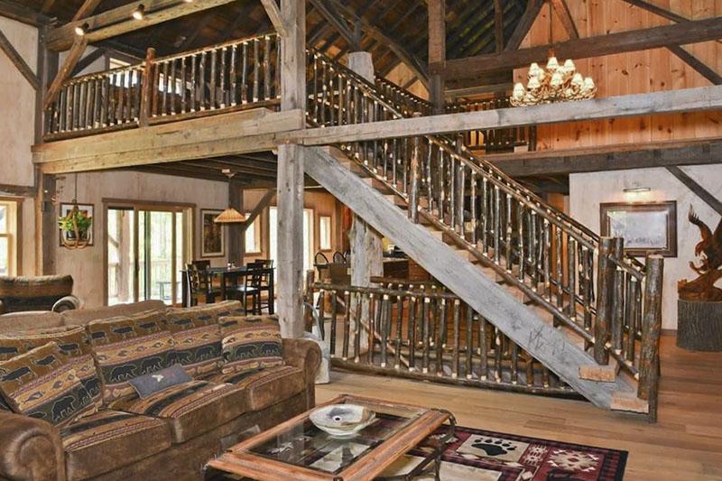 Interior of Grand Mountain Lodge vacation rental in the Pine Creek Gorge near Wellsboro PA