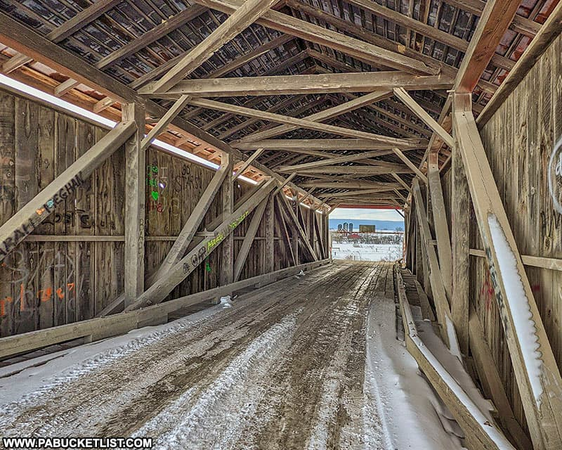 Interior view of Hayes Covered Bridge in Union County PA