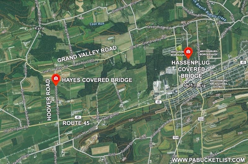 How to find Hayes Covered Bridge in Union County Pennsylvania.