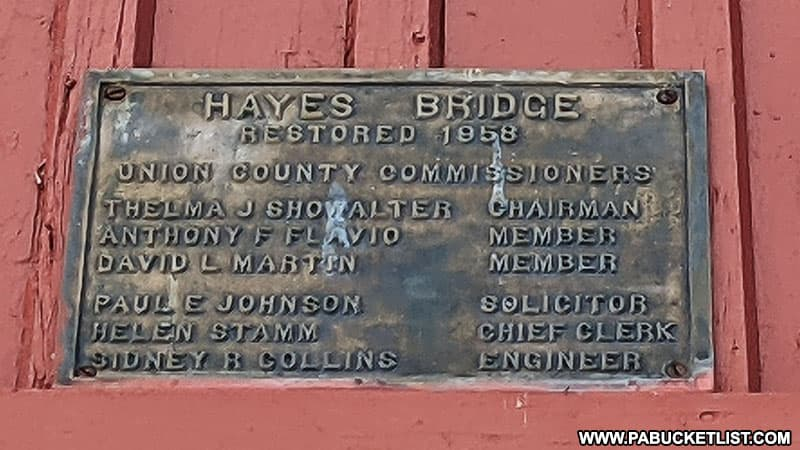 Historical plaque on Hayes COvered Bridge in Union County PA