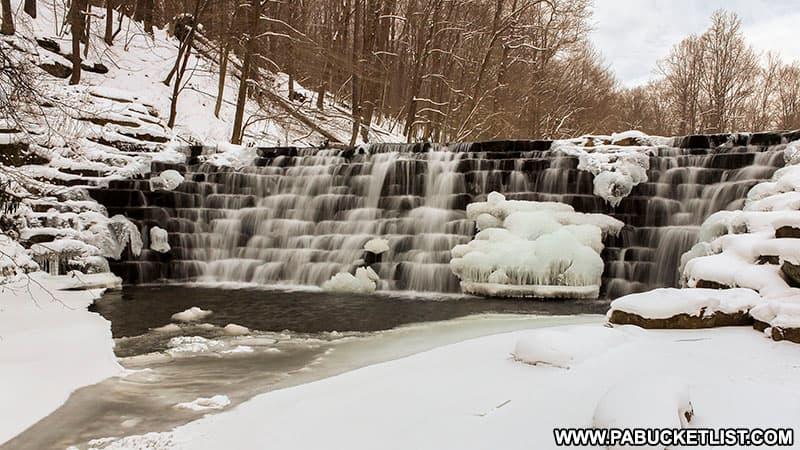 Jones Mill Run Dam in the winter at Laurel Hill State Park.