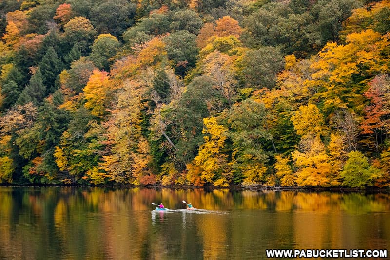 Kayakers on Laurel Hill Lake in October.