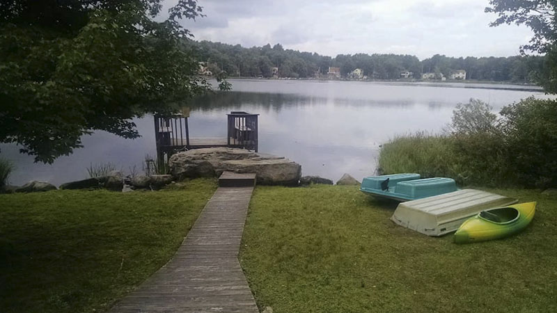 The view from a lakefront vacation rental near Camelback Ski Area in the Poconos.