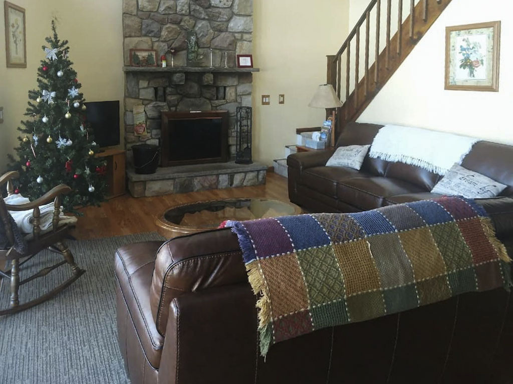 Inside a lakefront chalet vacation rental in the Poconos.