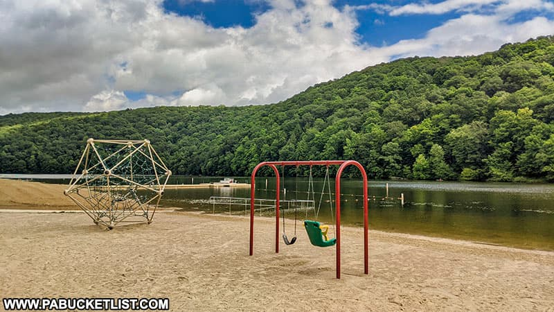 The playground on the beach at Laurel Hill State Park.