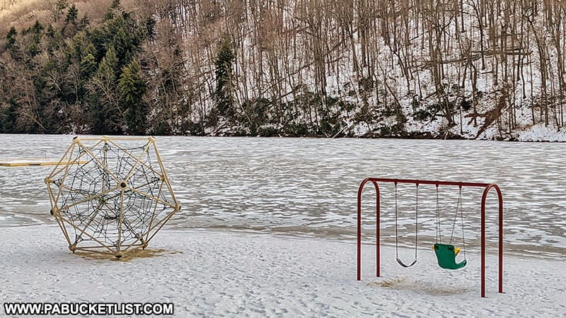 The beach playground at Laurel Hill State Park in the winter.