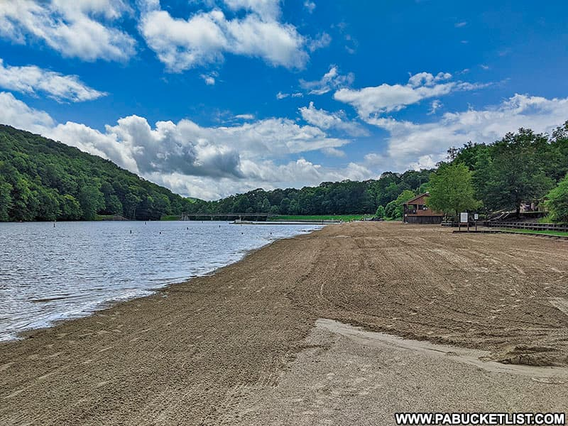 The freshly-groomed beach at Laurel Hill State Park.