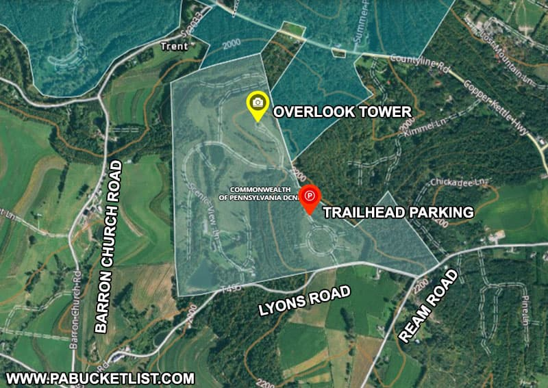 A map to the scenic overlook tower at Laurel Hill State Park.