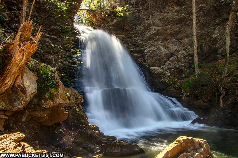 Little Shickshinny Falls on a sunny afternoon.