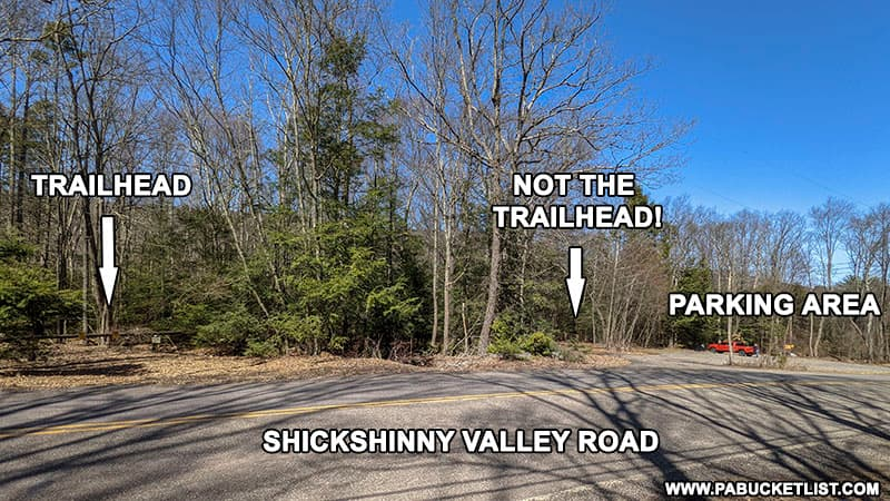 Location of the Little Shickshinny Falls Trail head in relation to the parking area.