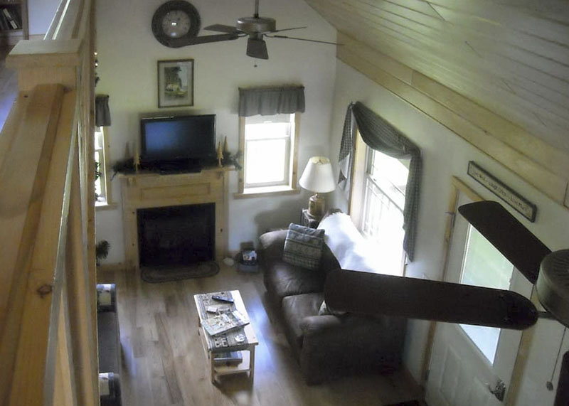 Interior of Amish crafted country cabin vacation rental in Wellsboro Pennsylvania