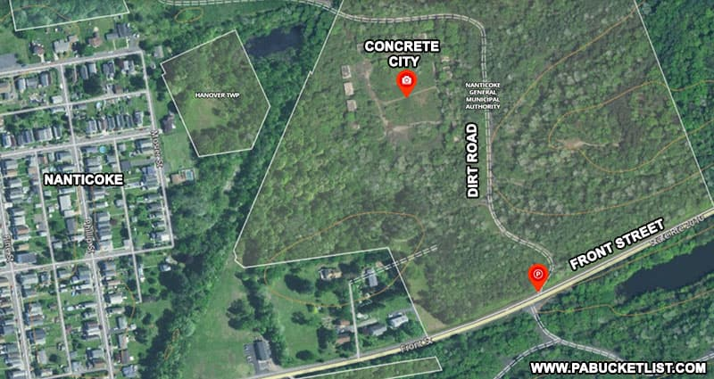 A map showing how to find Concrete City in Luzerne County Pennsylvania.