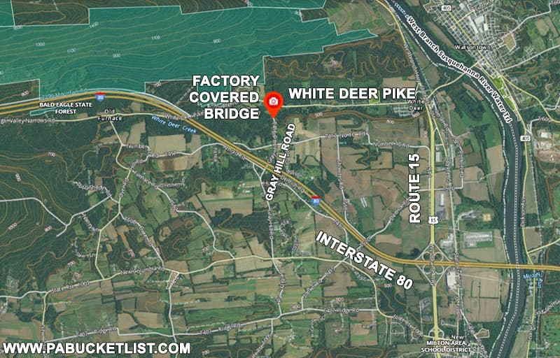 A map to Factory Covered Bridge over White Deer Creek in Union County, Pennsylvania.