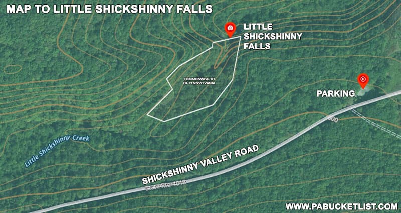 A map to Little Shickshinny Falls on State Game Lands 260.