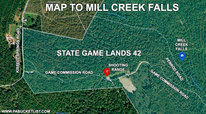 How to find Mill Creek Falls on State Game Lands 42 in Westmoreland County.