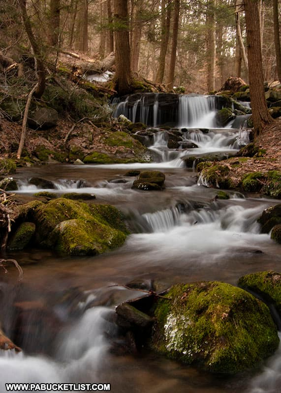 Downstream view of Mill Creek Falls in the PA Laurel Highlands.