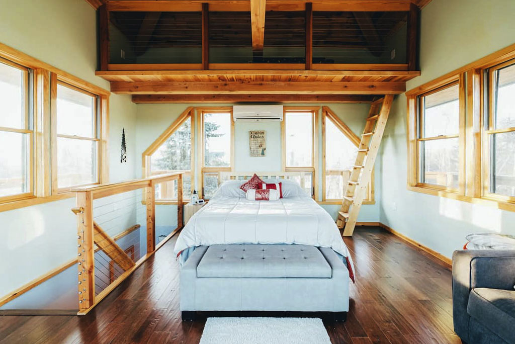 Inside a firetower chalet vacation rental cabin in the Poconos.