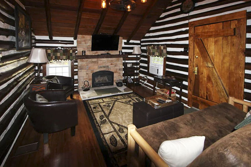 Fireplace in a vacation rental cabin in the PA Laurel Highlands.