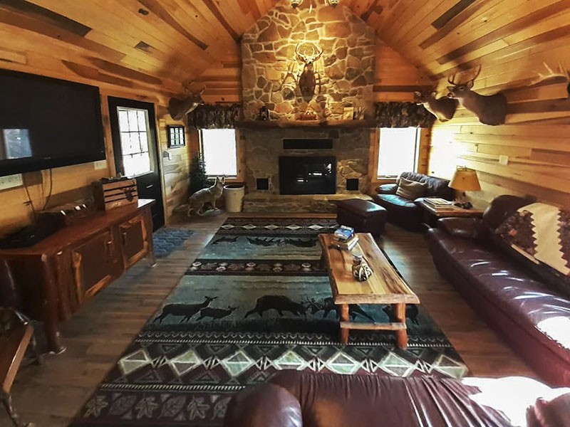 Interior of secluded cabin for rent in the Laurel Highlands of PA.