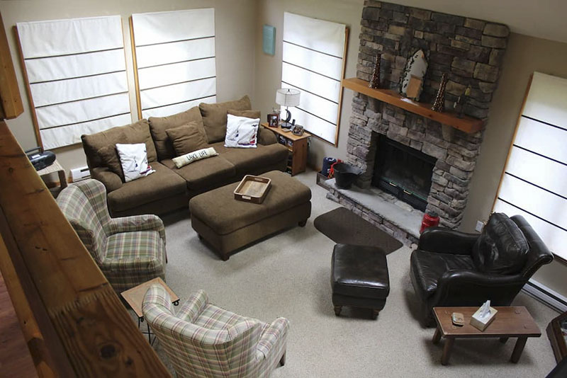 Fireplace in a Poconos vacation rental cabin.