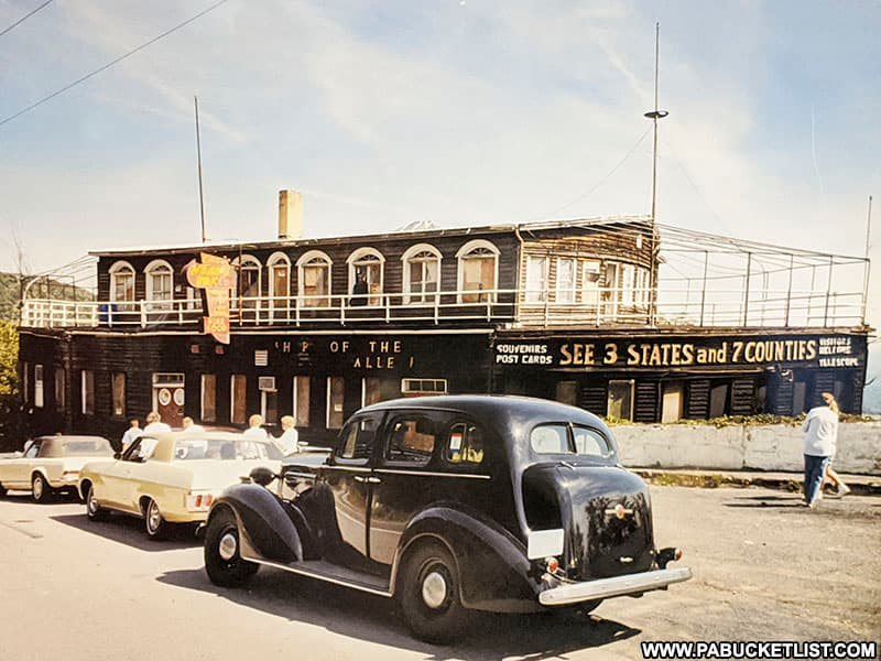 Historical image of the Ship Hotel on display at the Lincoln Highway Experience in Latrobe.
