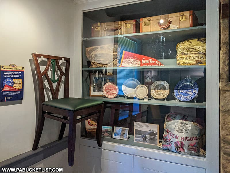 An assortment of artifacts from the SS Grand View Ship Hotel on display at the Lincoln Highway Experience.
